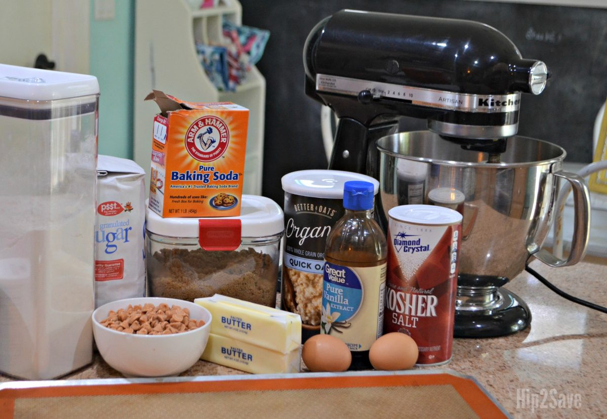 ingredients for salted caramel oatmeal cookies
