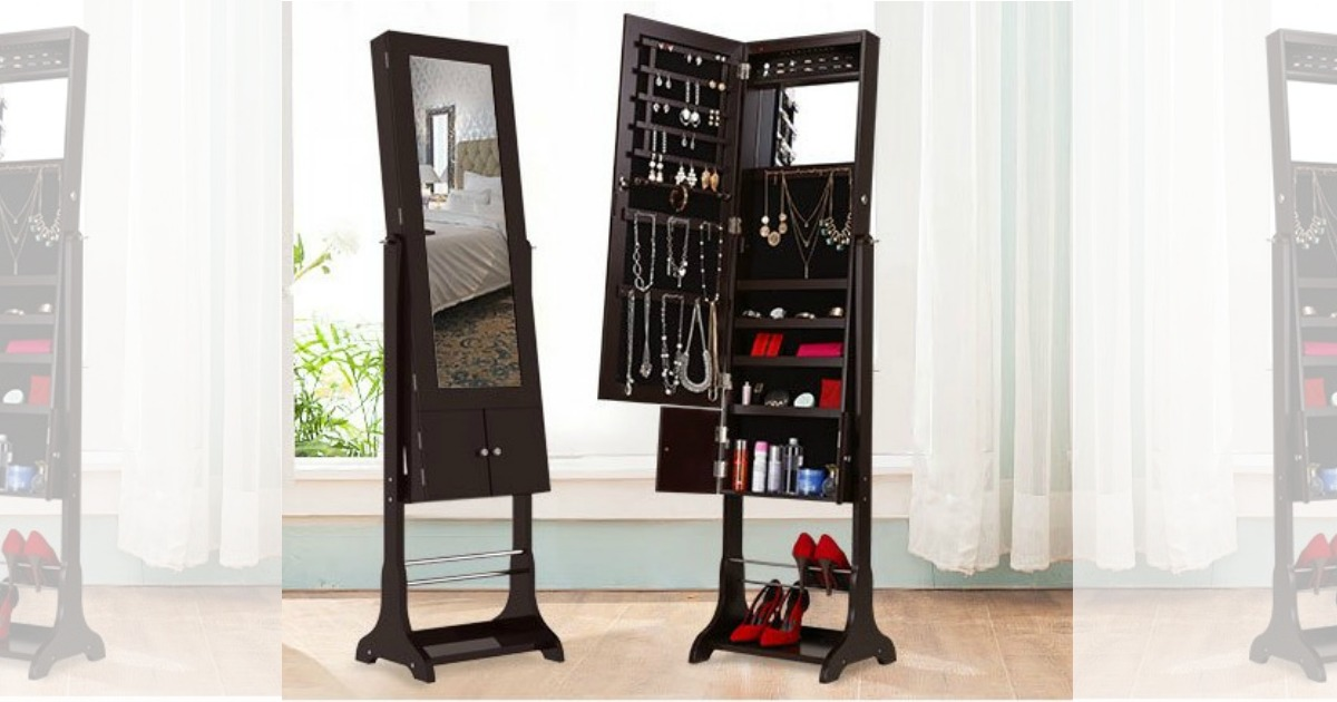 Amazon Lockable Jewelry Armoire W Led Lighted Mirror