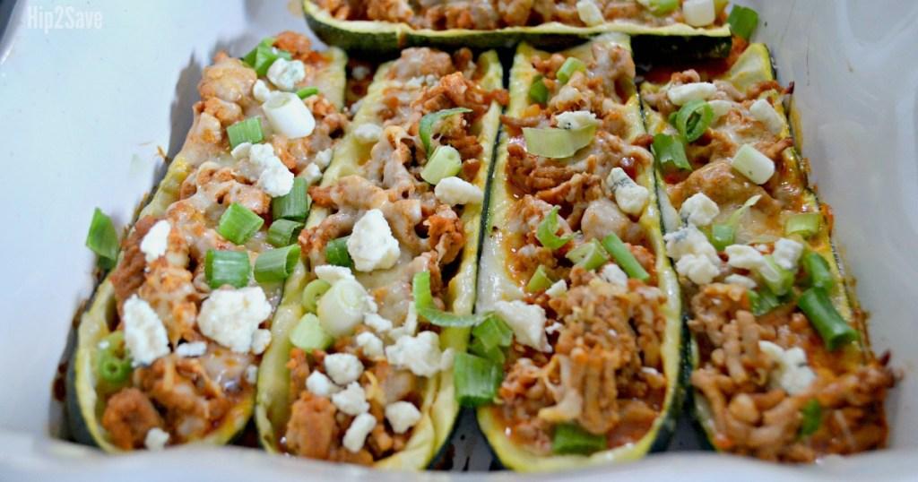 keto stocking stuffers — buffalo chicken zucchini boats low-carb meal idea