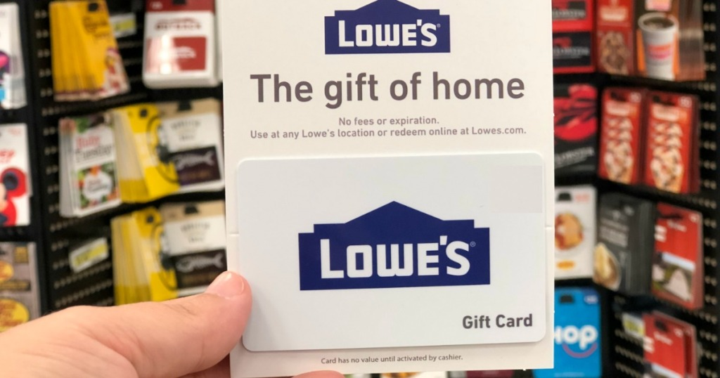hand holding a Lowe's gift card