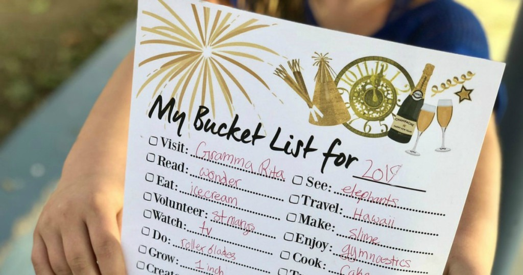 new year's bucket list free printable