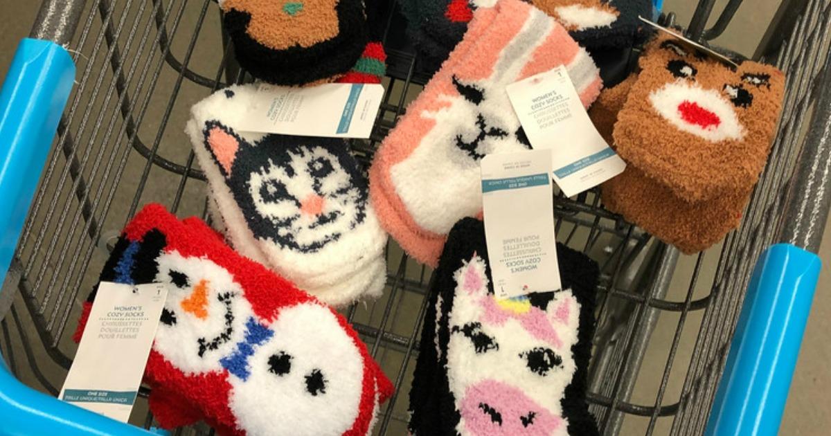 cart full of fuzzy socks