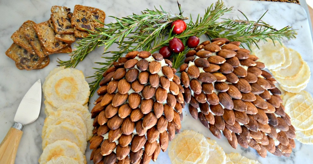 pinecone cheese ball on a cutting board
