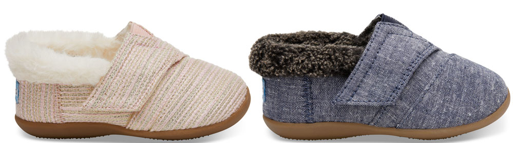 cbf6da8ab6d Tiny TOMS Pink Metallic Woven Slippers or Tiny TOMS Navy Chambray House  Slippers  25.99 (regularly  36) Use promo code COMFY (30% off)