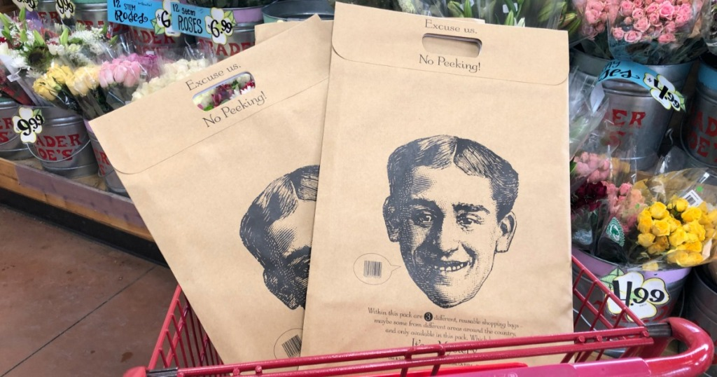 Mystery bags in Trader Joe's shopping cart