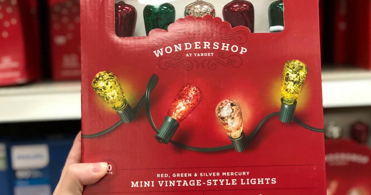 hand holding wondershop mini lights at target