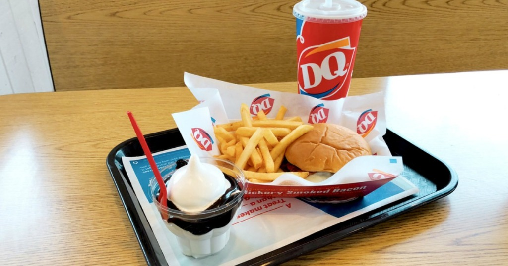 dq soda sundae cheeseburger and fries on a tray