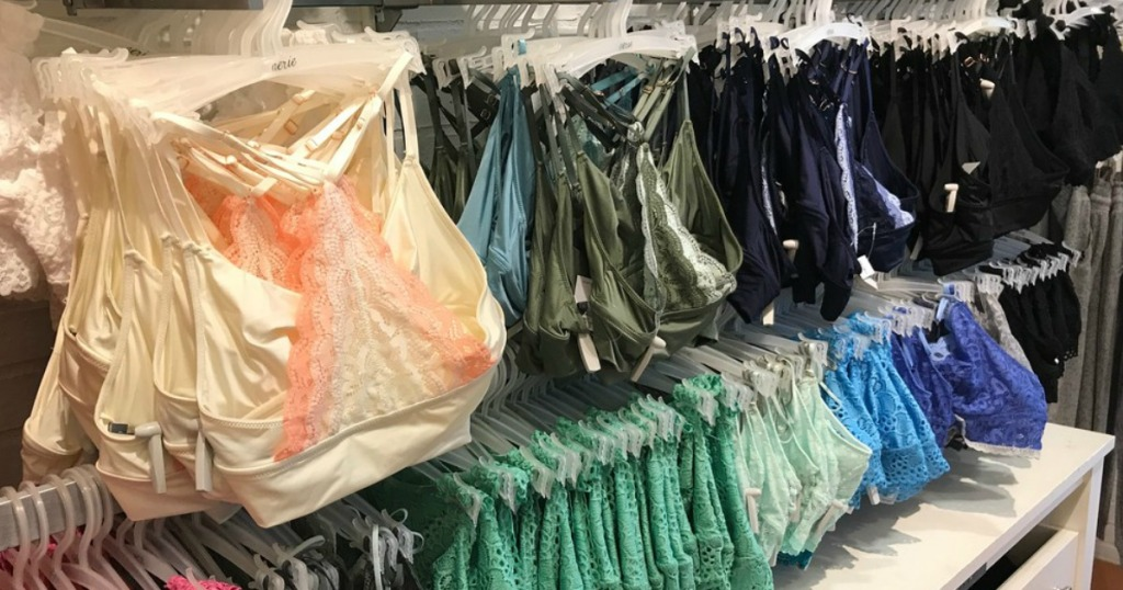 Aerie bralettes hanging in store