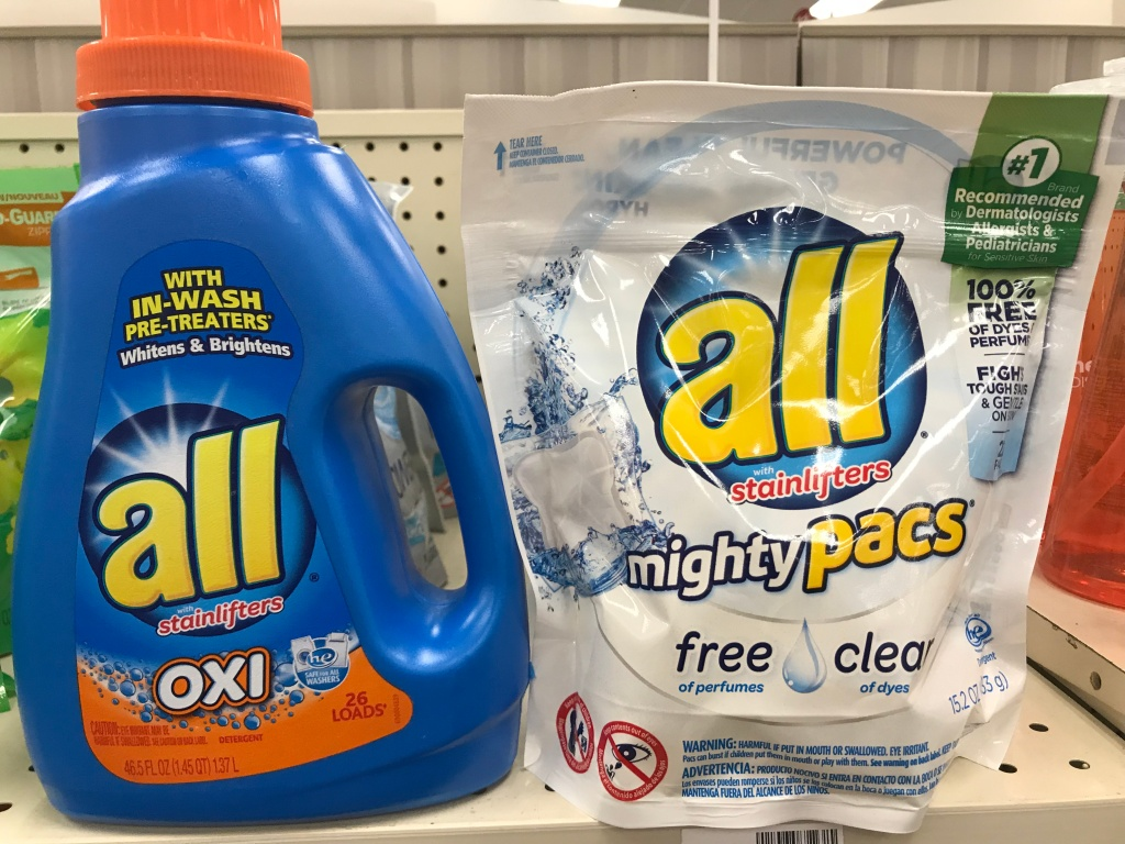 all liquid laundry detergent 465 or 50 oz powercore or mighty pacs 18 or 22 pack 299 use the 11 all product printable coupon found here