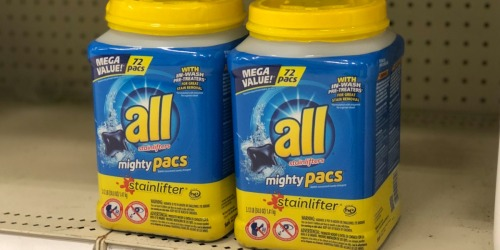 Amazon: TWO All Mighty Pacs 72-Count Tubs Only $13 Shipped (Just 9¢ Per Load)