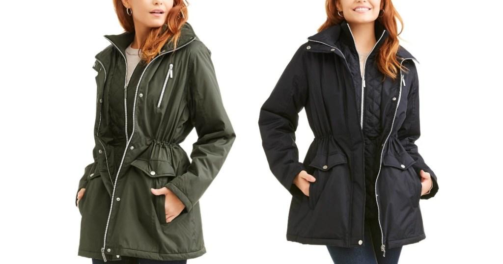 e73214ba3d91 Walmart.com  Women s Zip-Front Hooded Anorak Jackets ONLY  12 ...