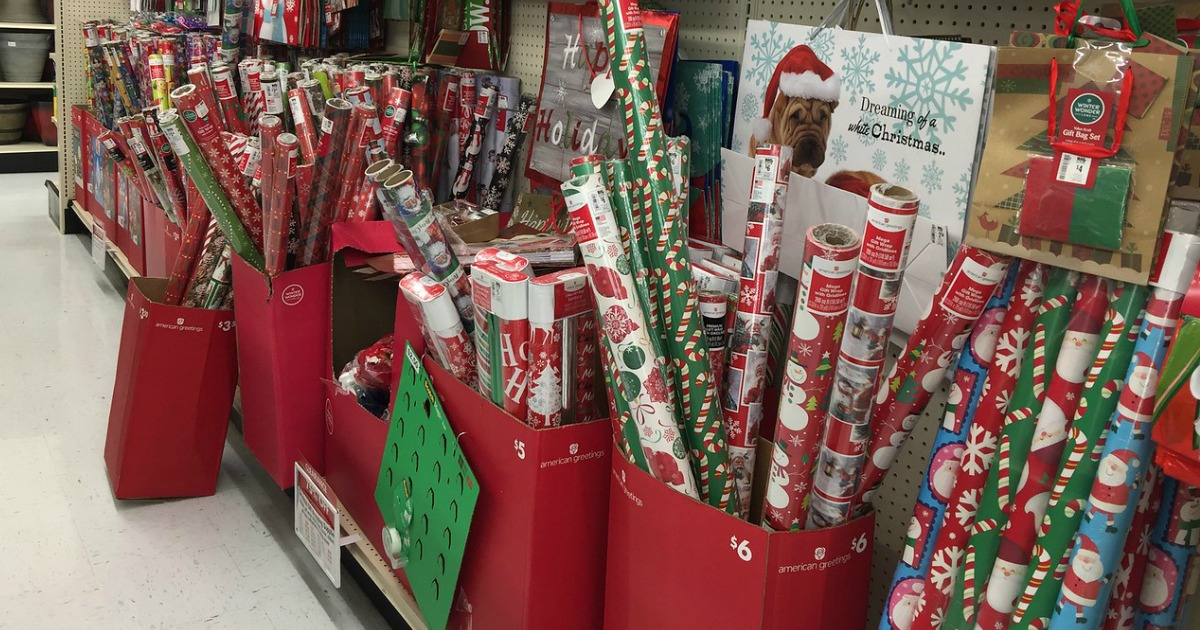 Christmas wrapping paper in store