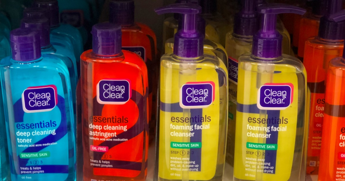 row of clean and clear products on a store shelf
