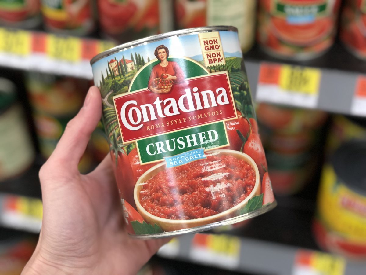 crushed tomatoes in a can at the store