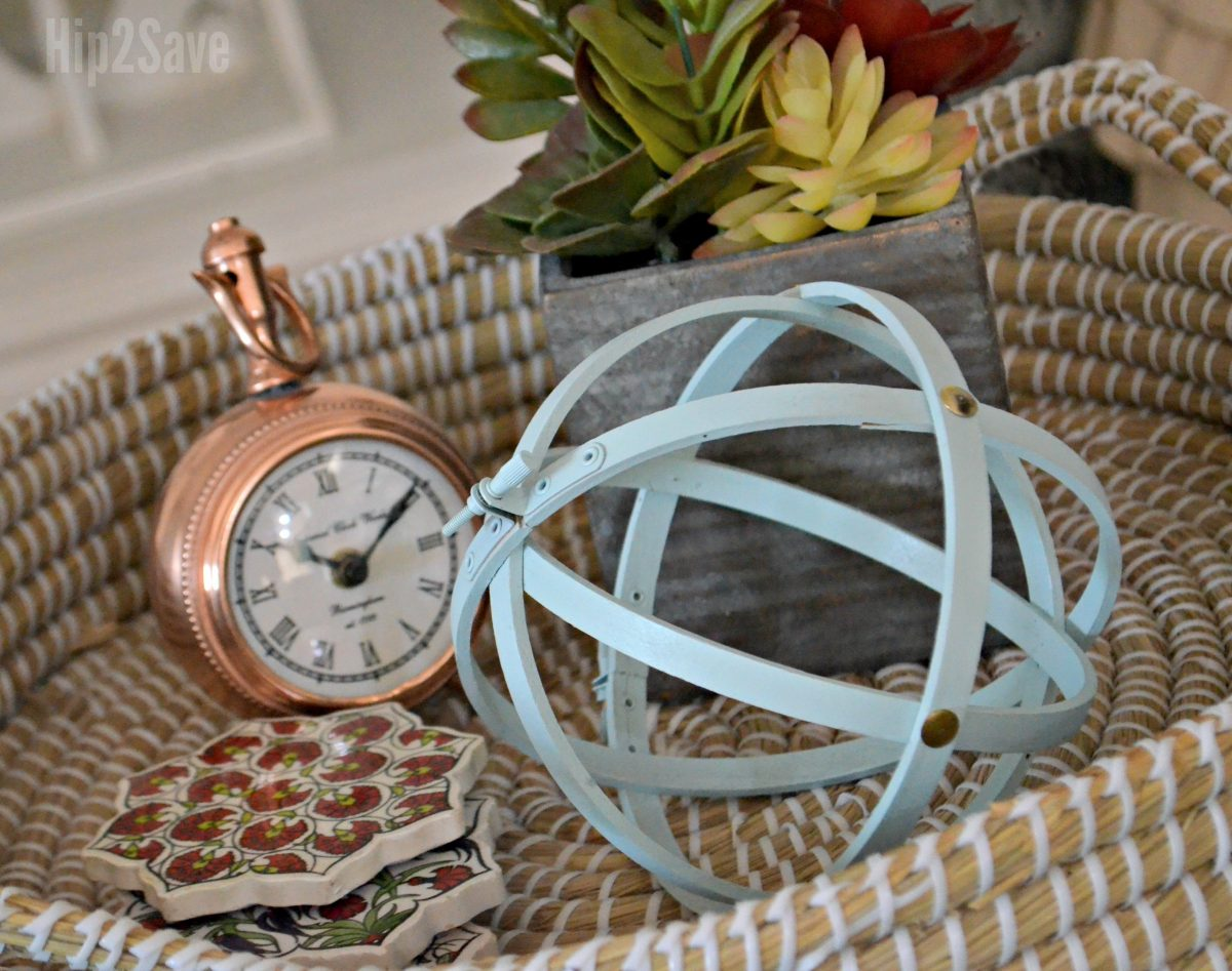 diy farmhouse style orbs using embroidery hoops – decorating a tray