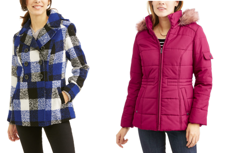 613eba42d1044 Faded Glory Women's Double-Breasted Faux Wool Peacoat with Hood Only $12  (regularly $39.98)