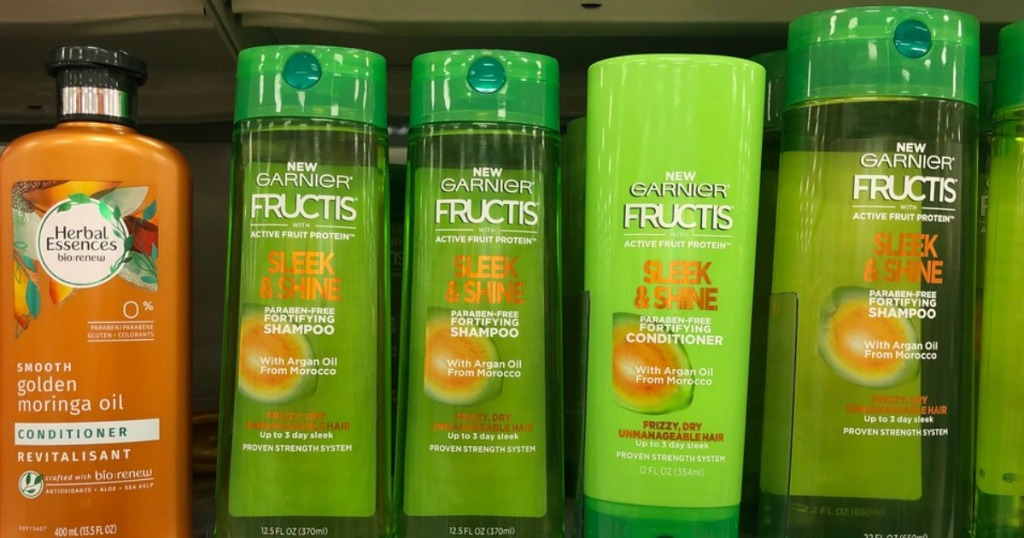 garnier fructis hair care on store shelf