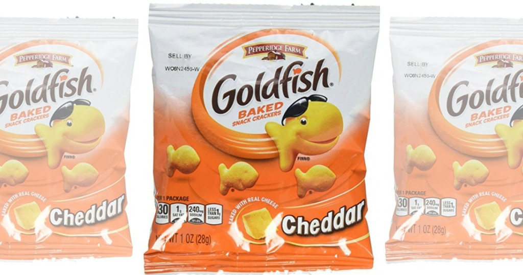 snack size bags of goldfish crackers on white background
