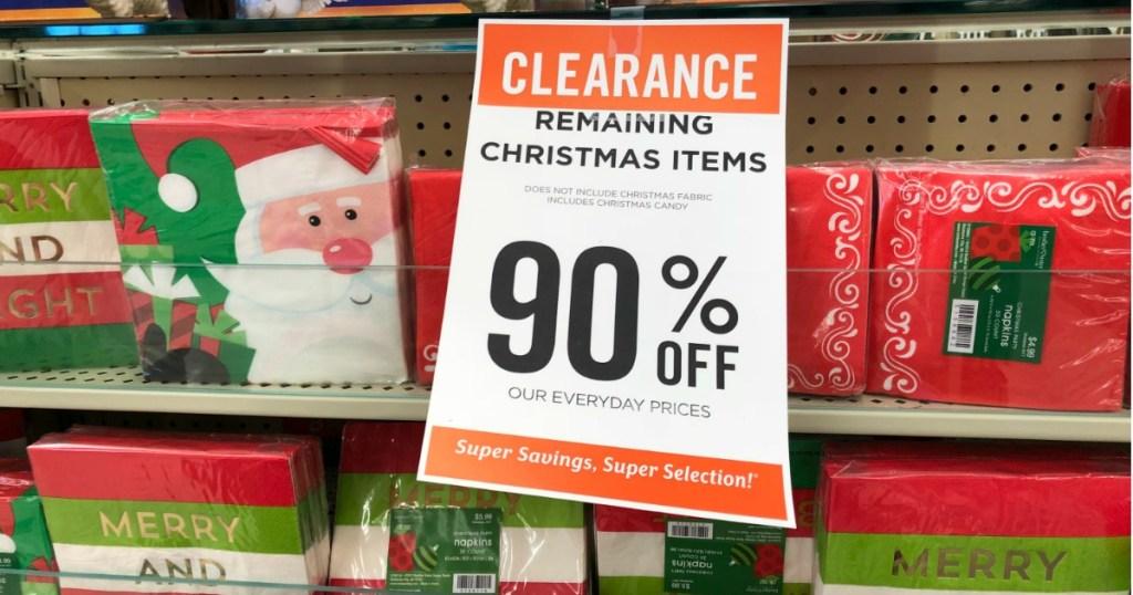 Hobby Lobby Christmas Clearance 90% off sign