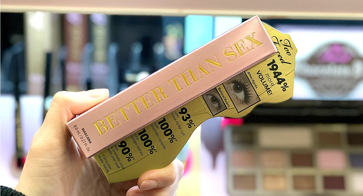 hand holding a box of better than sex mascara best make up brands cheap vs luxury