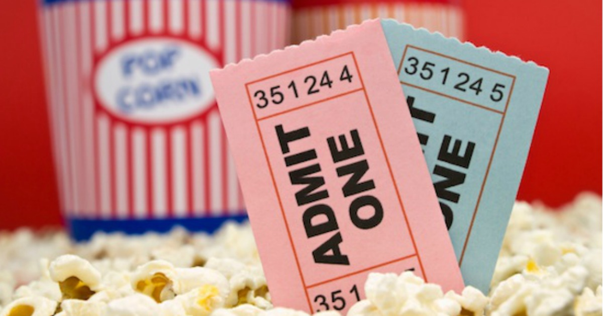 closeup of movie theater tickets