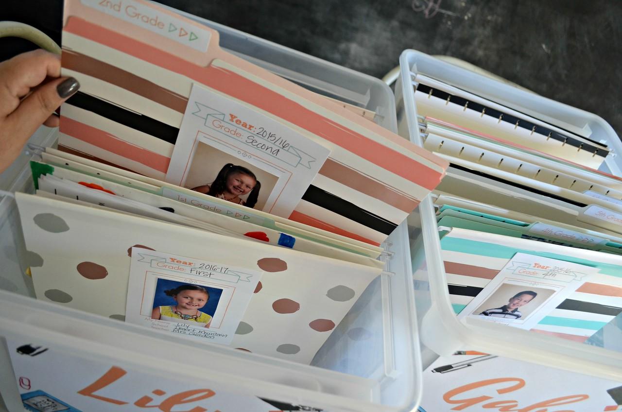 finished school paper organizer storage bin