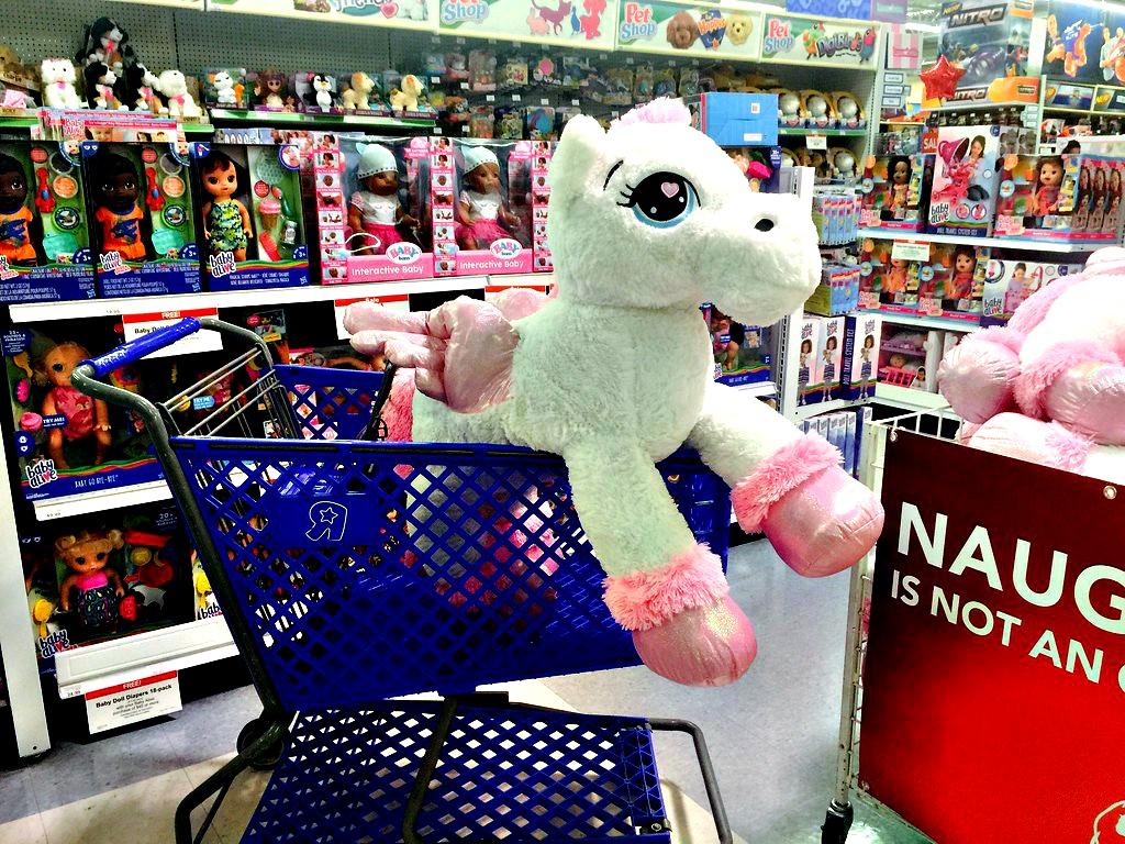 ToysRUs shopping cart with unicorn