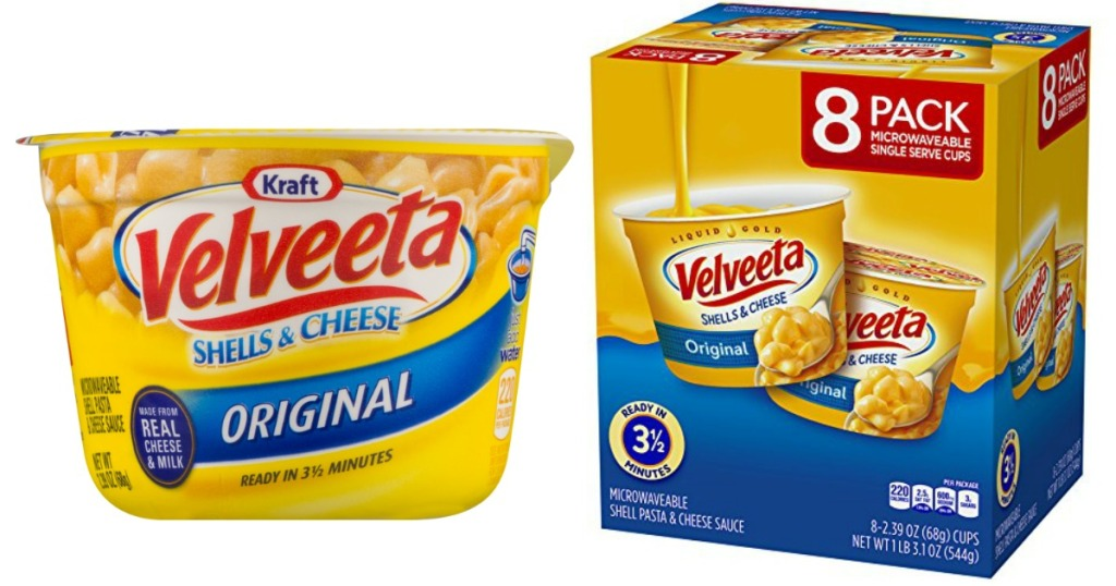 velveeta shells and cheese cup and box