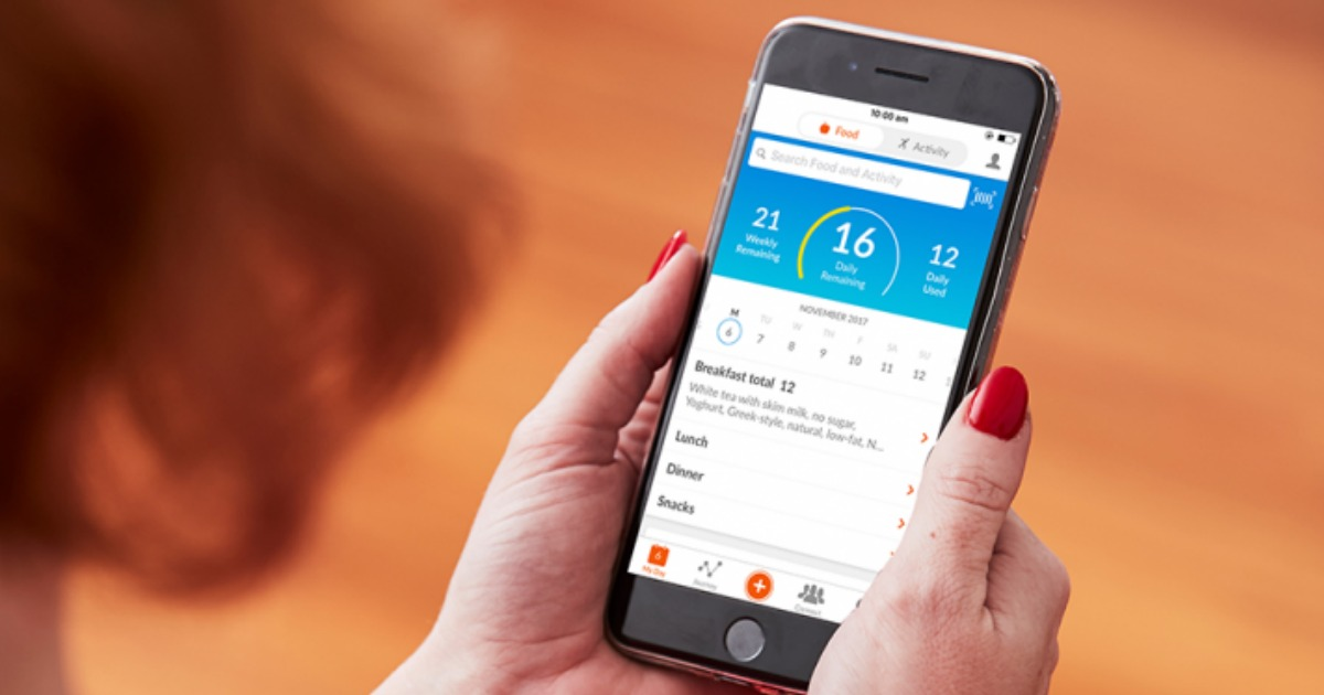 free weight watchers starter program with online plus support – Weight Watchers app on a cell phone