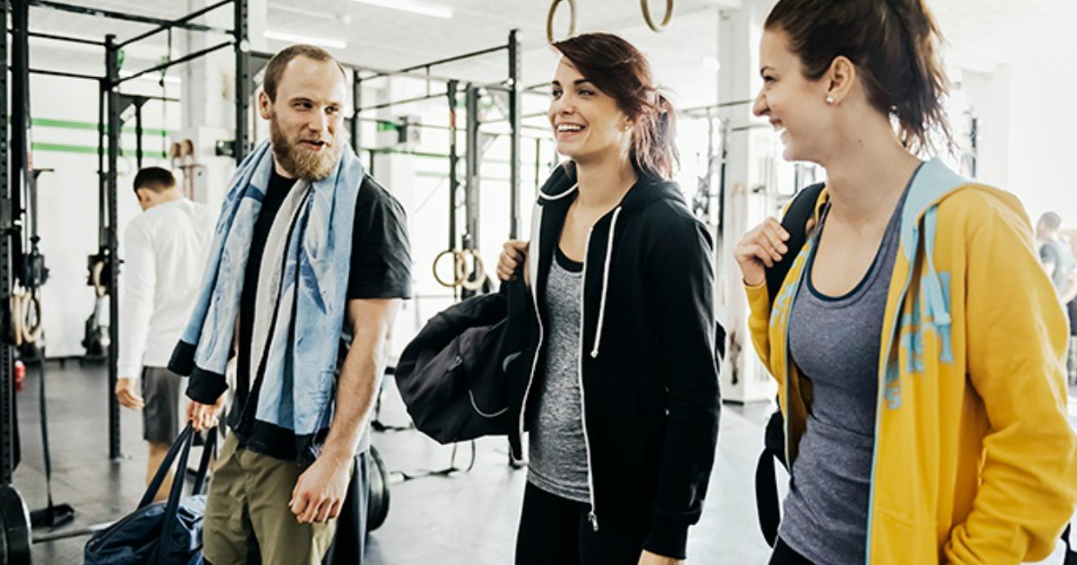 Receive a free weight watchers cookbook - people at a gym talking