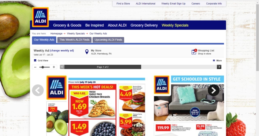 Aldi weekly ad on website
