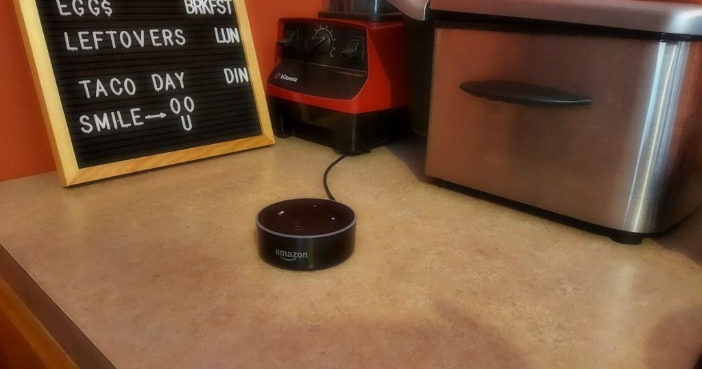 amazon echo dot sitting on the counter