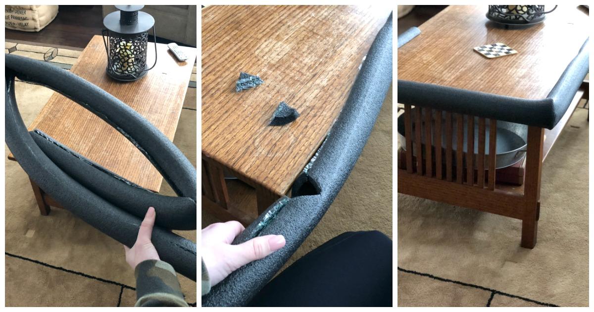 wrap pipe insulation around furniture edges