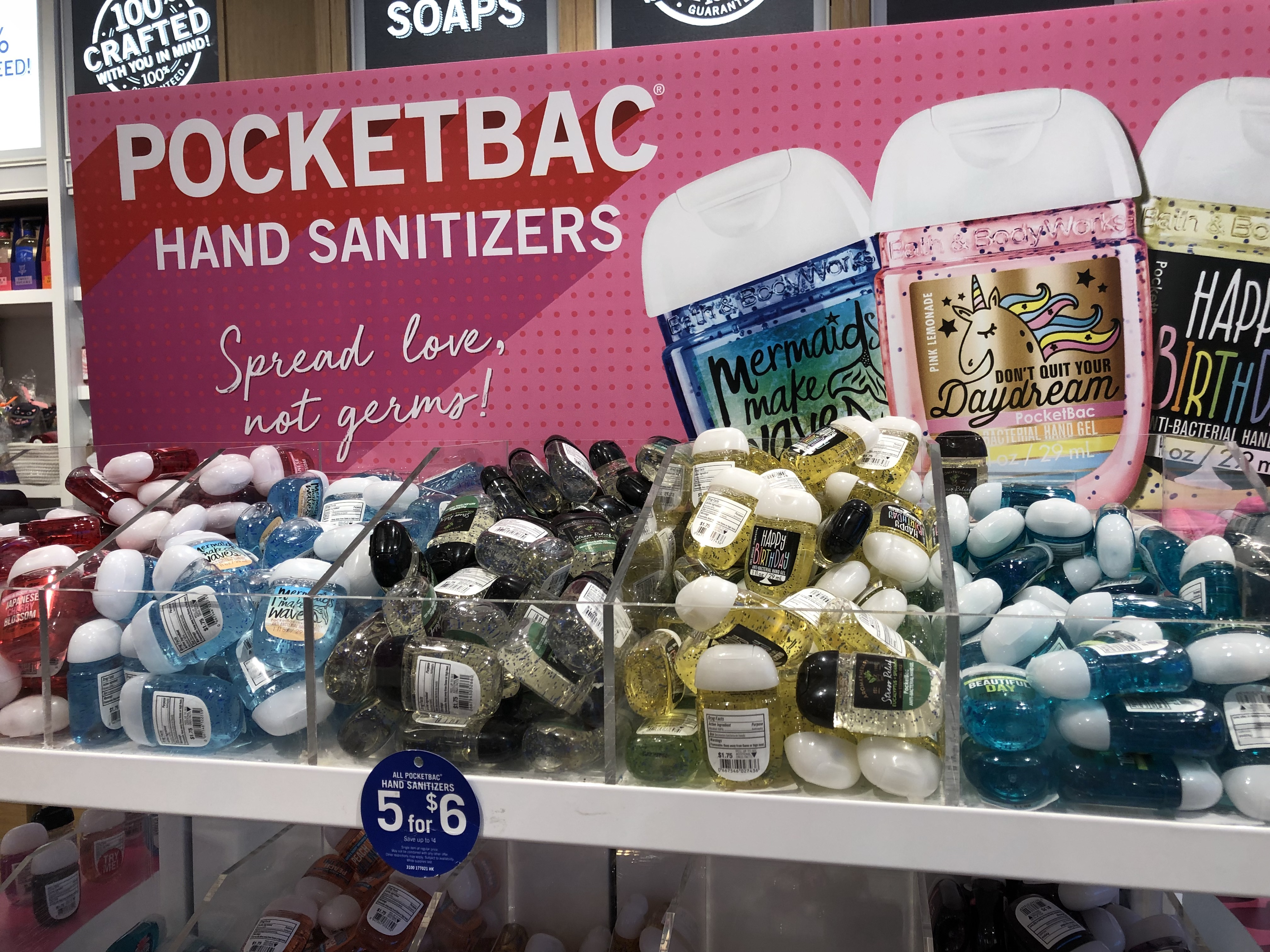 16 secrets for saving big at bath & body works – hand sanitizers display
