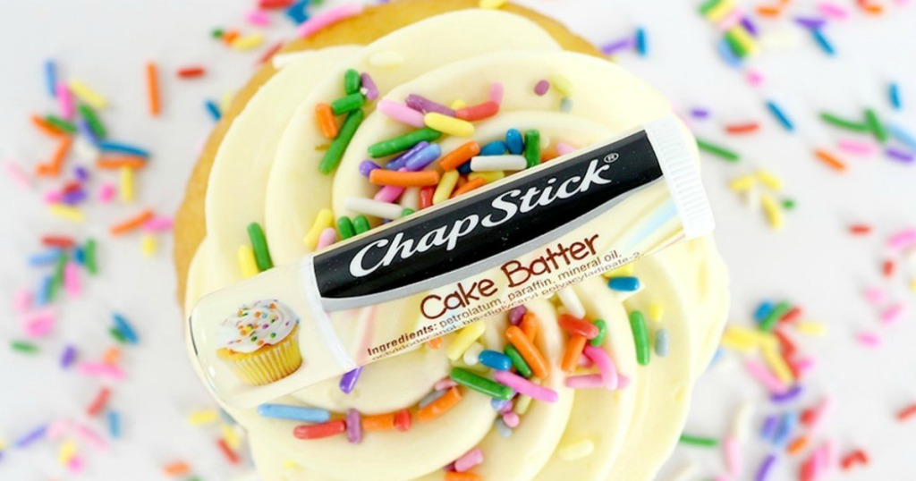 Cake Batter scented Chapstick lip balm on frosted cupcake with sprinkles