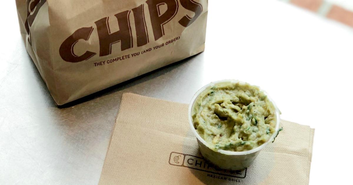 Chipotle Guacamole next to a bag