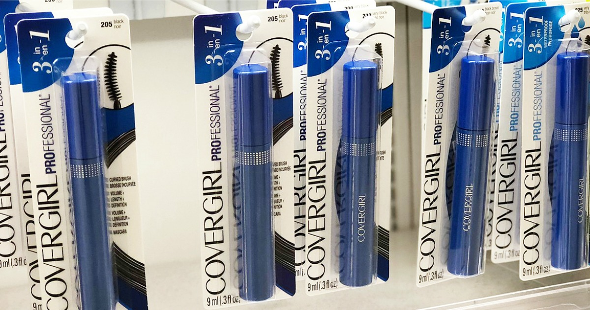 row of CoverGirl mascaras hanging in store