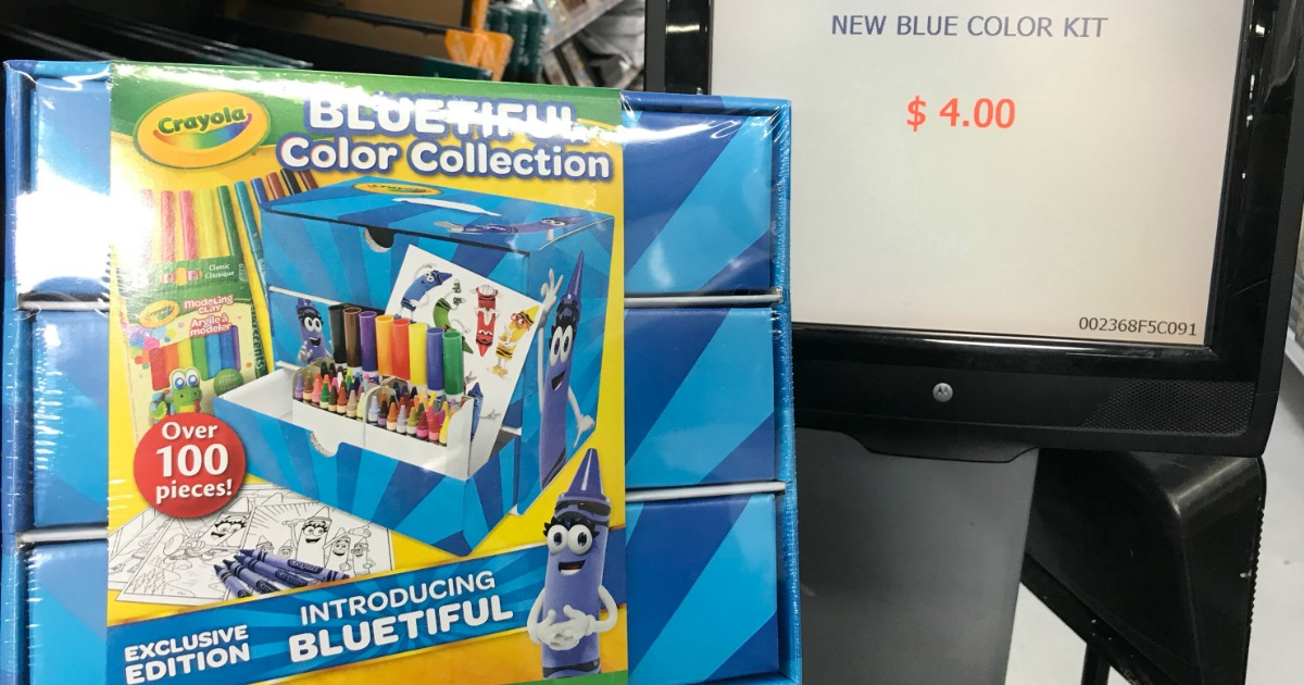PIECES ~ FREE SHIPPING! CRAYOLA BLUETIFUL COLOR COLLECTION ART SET /& CASE 100