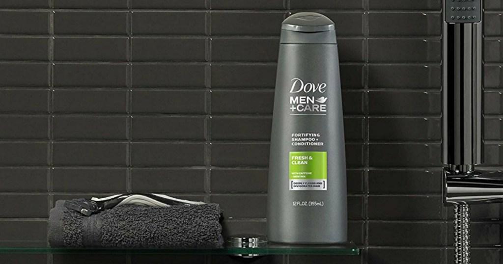 dove men care shampoo bottle in shower
