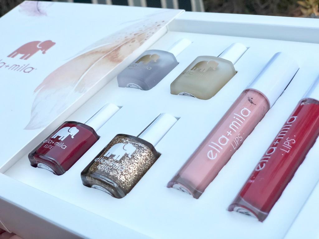 Ella + Mila nail products deal – nail polish and lip kits in a box delivered