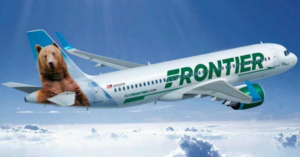 Frontier Airplane in sky