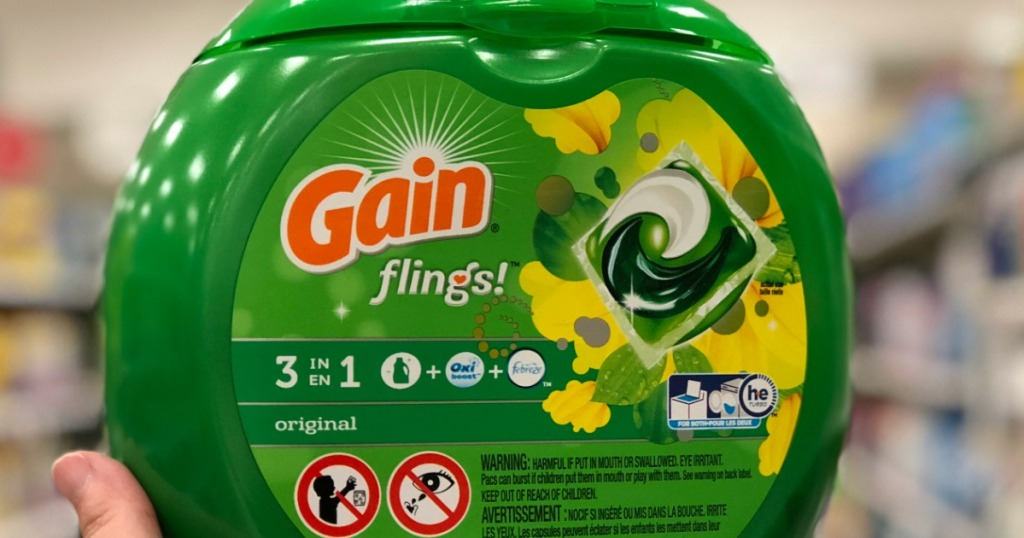 gain flings in green container