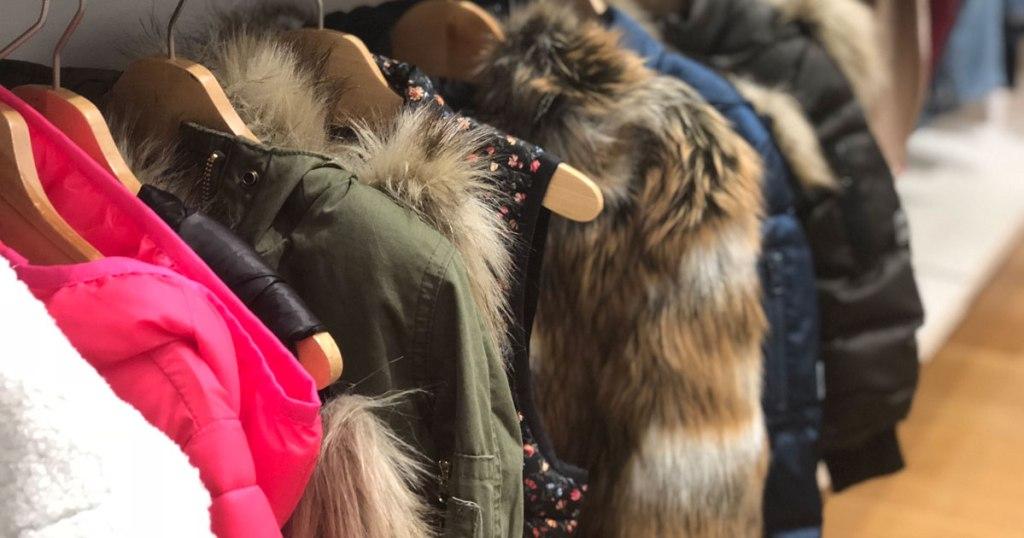GAP Puffer coats on a hanger