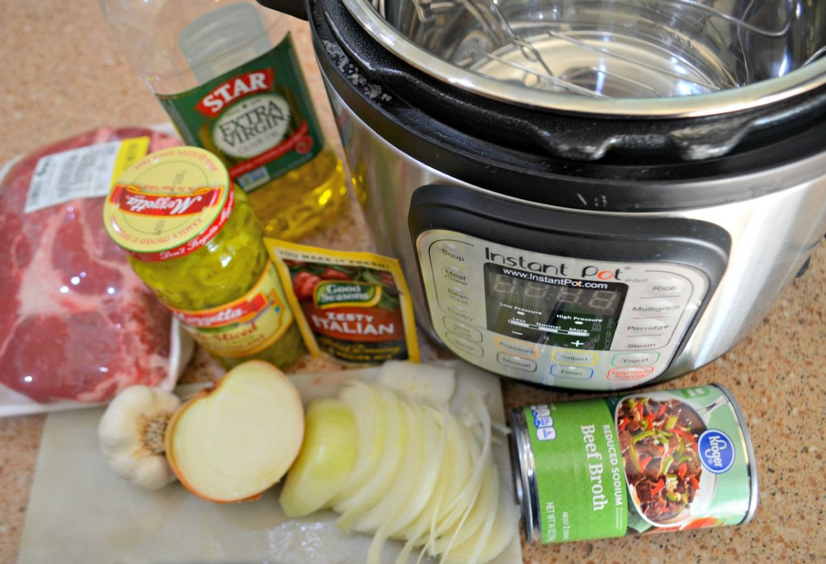 instant pot with ingredients for easy meal