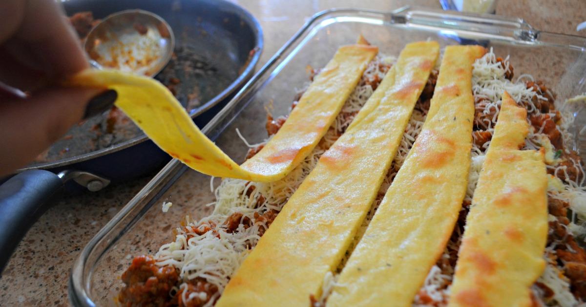 Hip2Keto keto lasagna recipe - up close image of the lasagna in a baking dish