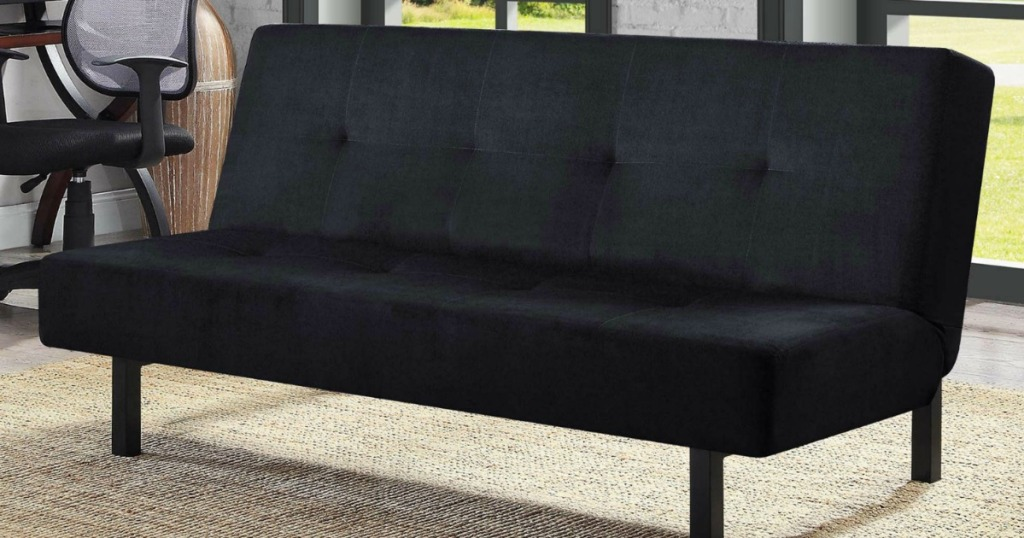 This Futon Has A 3 Position Adjule Back And Sy Metal Legs The Padded Cushion Tufted Details Offers Comfort When Is Used As Sofa