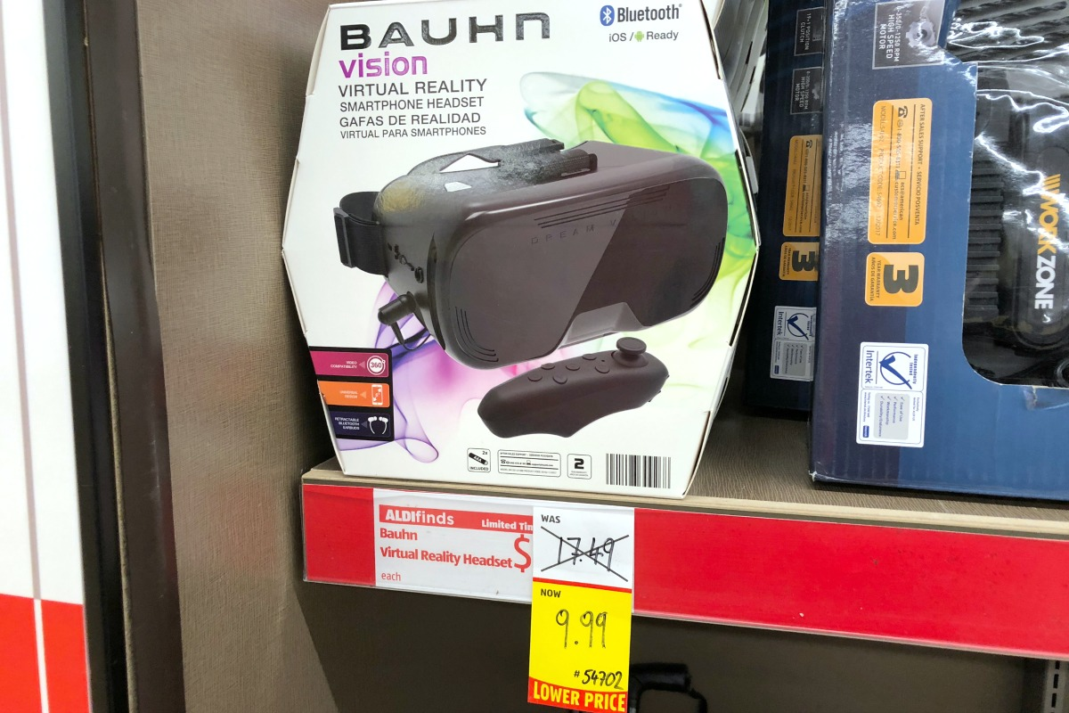 Virtual reality headset on store shelf with sale sign