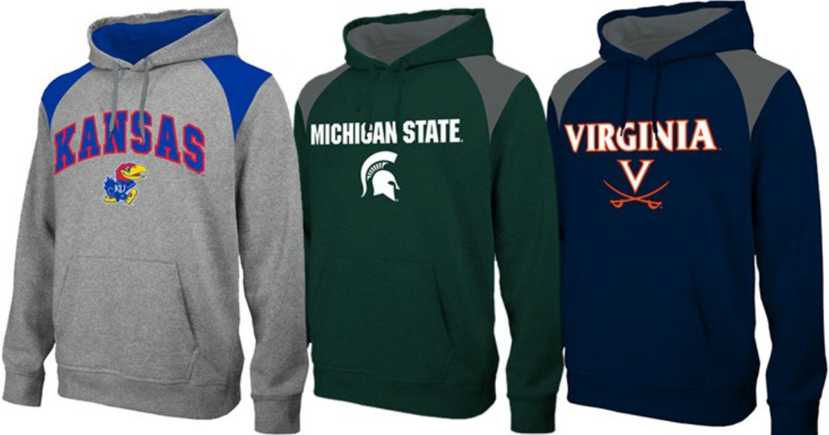 three ncaa hoodies