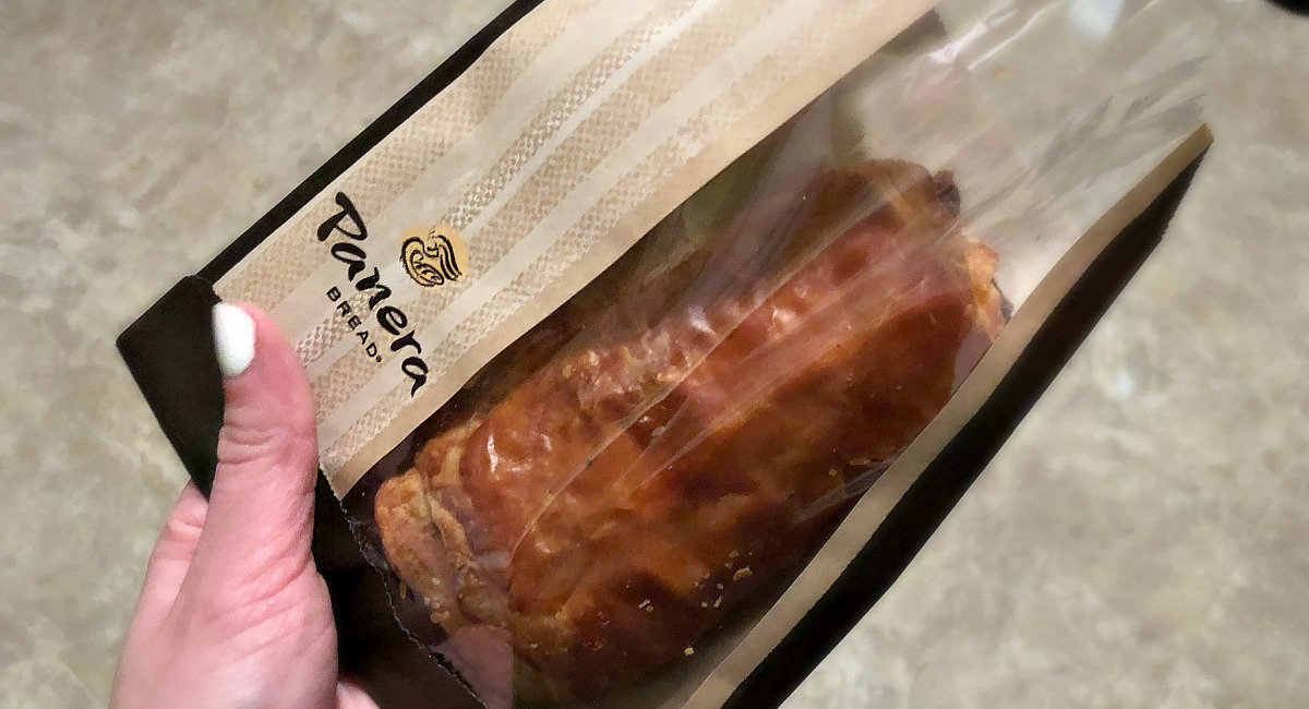 Panera bread roll in a Panera bag