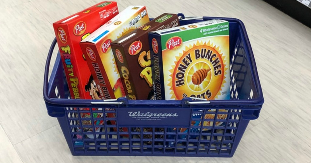 boxes of cereal in basket